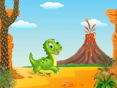 powerful volcano: Vector illustration of Cute baby dinosaur running in the prehistoric background
