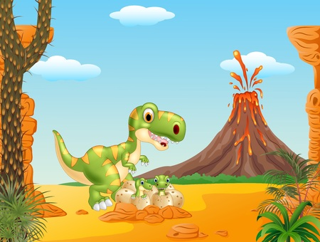 cartoon volcano: Vector illustration of Cartoon Mother and baby dinosaur hatching with the volcano background
