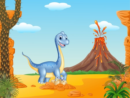 cartoon volcano: Vector illustration of Cartoon mom and baby dinosaur hatching with the volcano background