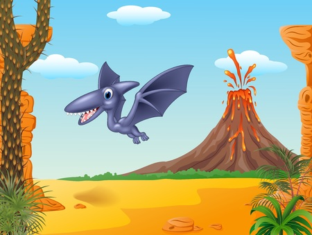 pterodactyl: Vector illustration of Cartoon bird pterodactyl mascot with Volcano background