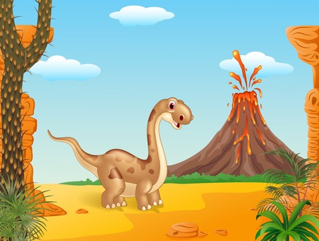 powerful volcano: Vector illustration of Adorable cute dinosaur with volcano background Illustration