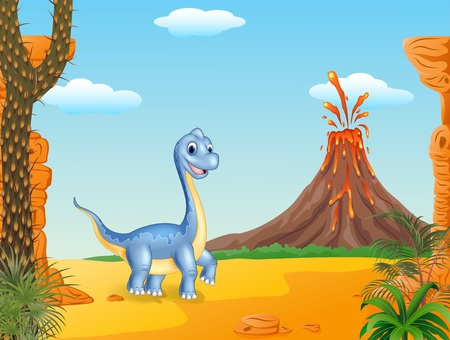 terrific: Vector illustration of Cute dinosaur posing with volcano background