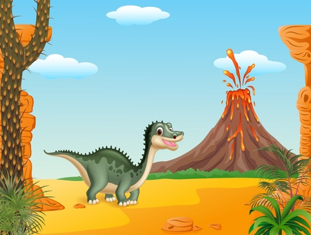 powerful volcano: Vector illustration of Cartoon funny dinosaur with volcano background