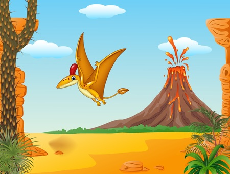 cartoon volcano: Vector illustration of Cartoon funny pterodactyl flying with Volcano background Illustration