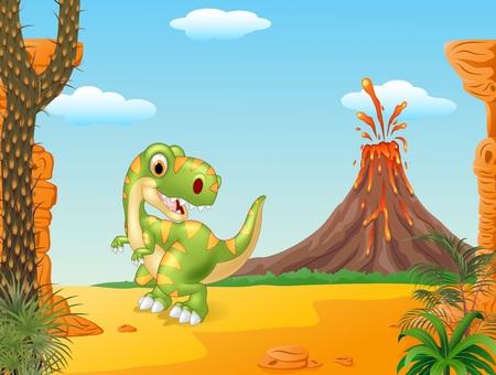 powerful volcano: Vector illustration of Prehistoric scene with cute tyrannosaurus dinosaur Illustration