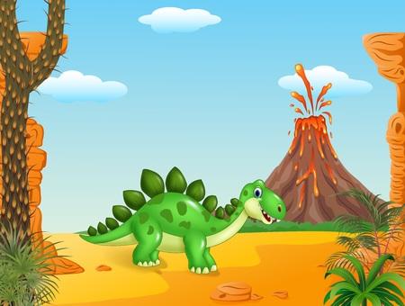 powerful volcano: Vector illustration of Cute baby dinosaur posing in the desert background