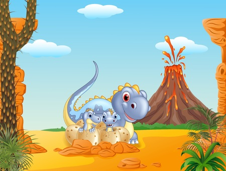 terrific: Vector illustration of Cartoon happy mom dinosaur and baby dinosaurs hatching