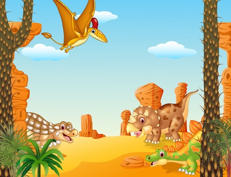 terrific: Vector illustration of Cartoon funny dinosaur collection set with prehistoric background