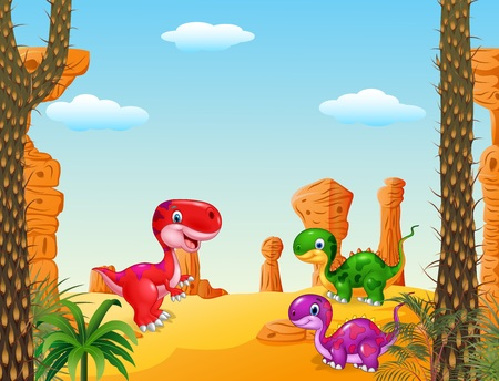 dinosaur cute: Vector illustration of Cartoon happy dinosaur Collection set with Prehistoric background