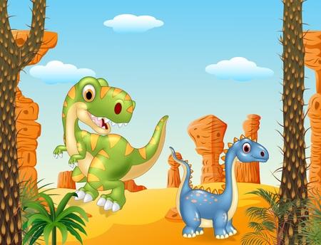 dinosaurio caricatura: Ilustraci�n del vector del dinosaurio lindo posando en el fondo del desierto