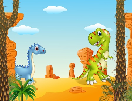 terrific: Vector illustration of Prehistoric scene with funny dinosaur collection set Illustration
