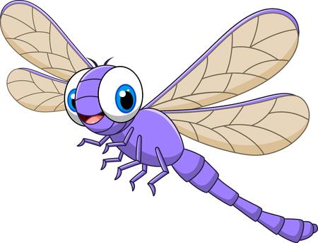 divertido: Ilustración del vector de la libélula divertida de dibujos animados aislado en el fondo blanco