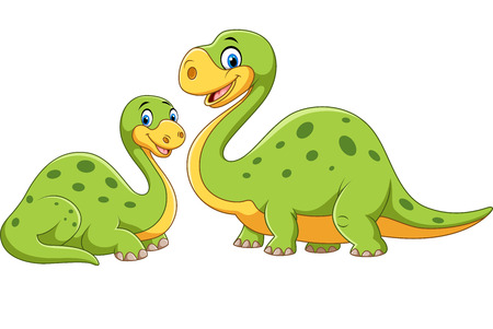 dinosaur egg: Vector illustration of Happy mother with baby dinosaur posing isolated on white background Illustration