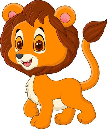 Vector illustration du bébé lion mignon marche isolé sur fond blanc