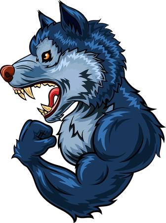 Vector illustratie van de sterke wolf karakter op een witte achtergrond