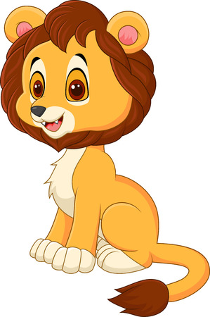 giggle: Vector illustration of Cute baby lion walking isolated on white background