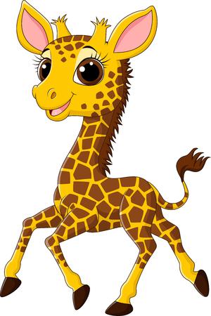 Vector illustration of Cute giraffe running isolated on white background Vetores
