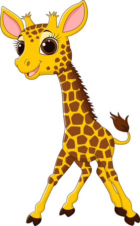 humor: Vector illustration of Cartoon funny giraffe mascot isolated on white background