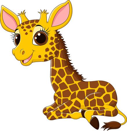 Ilustración vectorial de dibujos animados jirafa divertida sesión aislados en fondo blanco