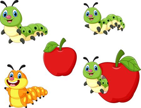 frutas divertidas: Ilustración vectorial de divertido equipo de recogida de oruga de la historieta