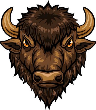 Vector illustration of head bison mascot