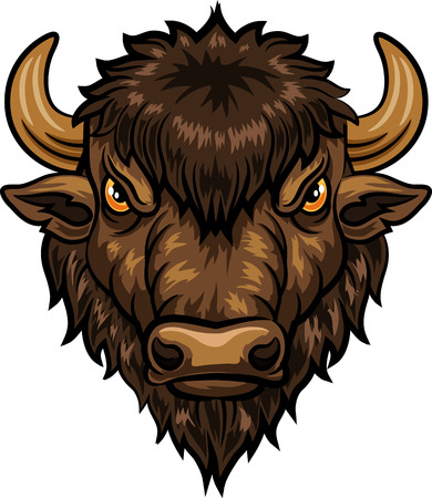 angry bull: Vector illustration of head bison mascot
