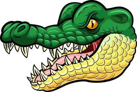 Illustrazione vettoriale di Cartoon arrabbiato mascotte coccodrillo