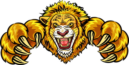 mad: Vector illustration of angry lion mascot