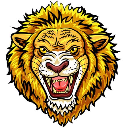 leones: ilustración vectorial de dibujos animados principal de la mascota del león enojado