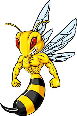 Vector illustratie van de sterke bee mascotte op een witte achtergrond Vector Illustratie