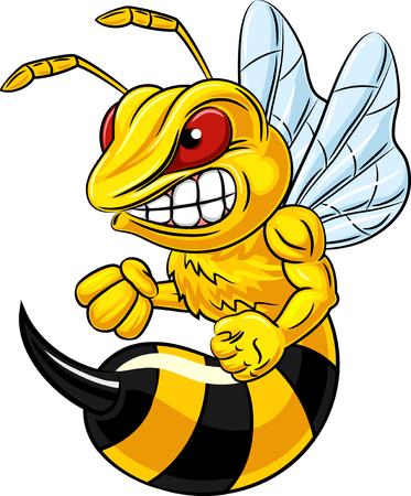 Vector illustratie van boze bijen mascotte op een witte achtergrond