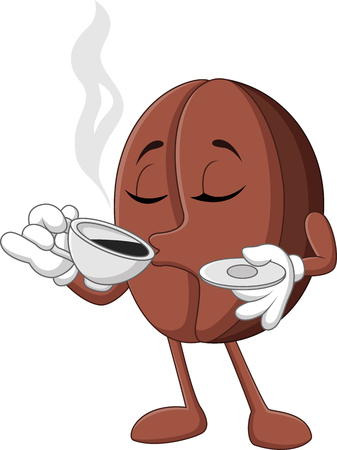 Illustrazione vettoriale di fumetto divertente del chicco di caffè bere il caffè