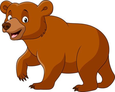 Vector illustratie van Cute beer lopen op een witte achtergrond