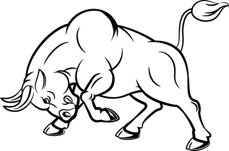 chasing tail: Vector illustration of angry bull with attacking pose