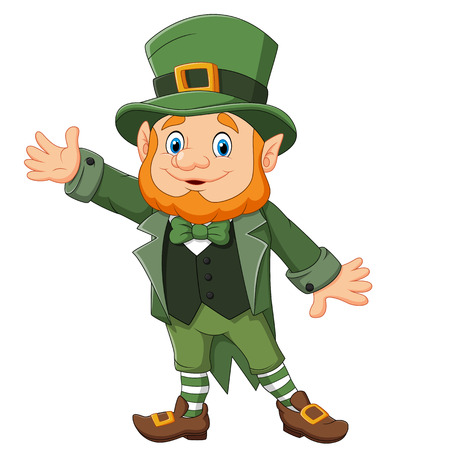 Vector illustration of Cartoon happy leprechaun waving hand