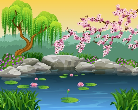 river rock: Vector illustration of beautiful nature background