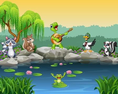Vector illustration of Cartoon happy animals singing collection Çizim