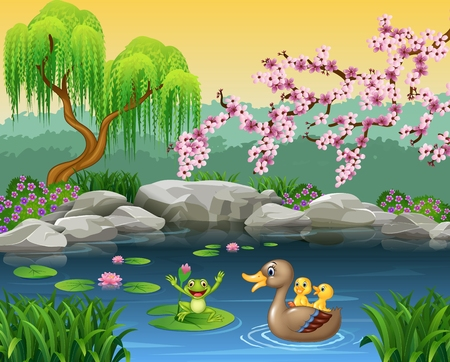 Vector illustration of Cartoon funny mother duck with frog on the lily water