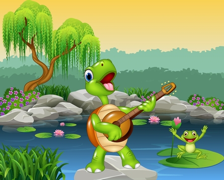 river rock: Vector illustration of Cute turtle playing guitar on rock
