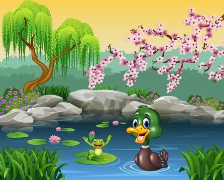 pajaro caricatura: Ilustración del vector de Natación linda del pato con la rana