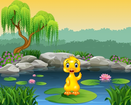 Vector illustration of Cute baby duck waving on the lily water Illustration