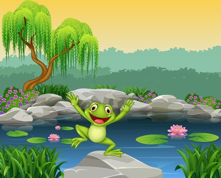 ponds: Vector illustration of Cartoon happy frog jumping on the rock Illustration