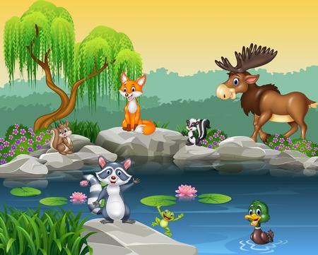 животные: Векторные иллюстрации мультфильм смешной коллекции животных на красивом фоне природы