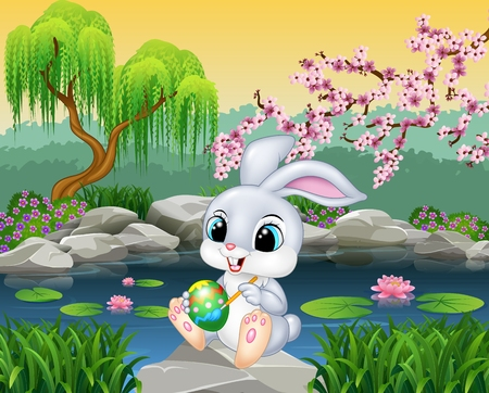 bunny: Vector illustration of Carton happy Easter Bunny painting an egg on the rock