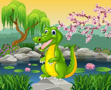 river rock: Vector illustration of Cute crocodile posing on the rock Illustration