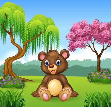 comic background: Vector illustration of Cute funny bear sitting in the jungle