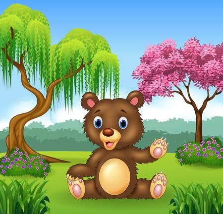 fur trees: Vector illustration of Cartoon funny bear presenting Illustration