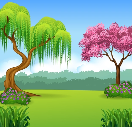 landscape flowers: Vector illustration of beautiful forest background