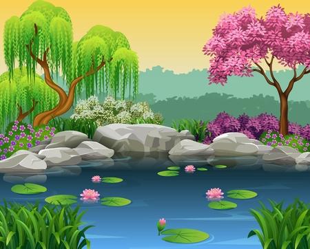 arboles caricatura: Ilustración del vector de la ilustración del fondo hermoso río Vectores