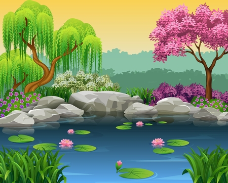 river rock: Vector illustration of Illustration of beautiful river background